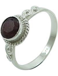 Marcado 925 Rubí Anillo partido de las mujeres de la piedra preciosa india Bisutería regalo para las mujeres