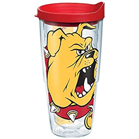 Tervis 1167397 Ferris State University Colossal Wrap Individual Tumbler with Red lid, 24 oz, Clear by Tervis