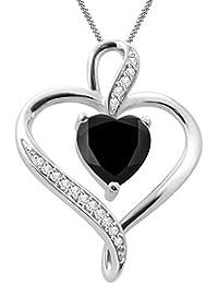 """Silvernshine Women's 1.25 Ct Heart Cut Black & White Diamond Pendant Necklace, 18"""" .925 Silver Chain"""