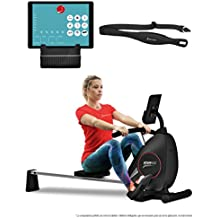 Sportstech RSX400 Máquina de Remo Plegable; Incluye App Deportiva para Smartphone y Correa de Pulso. Ideal para su hogar con 8 Niveles de magnetoresistencias Ajustables (Reacondicionado)