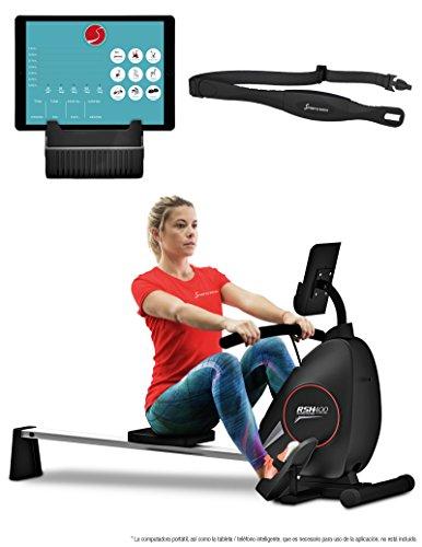 Sportstech RSX400 Máquina de Remo Plegable; Incluye App Deportiva para Smartphone y Correa de Pulso. Ideal para su hogar con 8 Niveles de magnetoresistencias Ajustables
