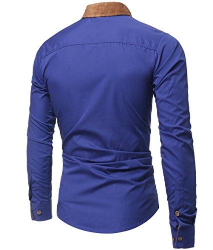 Kuson Herren Langarmhemd Slim Fit Hemden Modern Business Hochzeit Freizeit Bügelleicht kentkragen Hemd mit Geweihprosse Blau