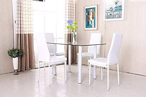 OSPI® Clear Tempered Glass Dining Table & 4x Faux Leather Dining Chairs Set White Colour Dining Room Furniture
