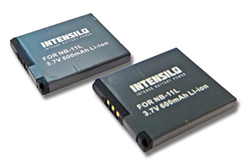 Galleria fotografica INTENSILO 2x Li-Ion batteria 600mAh (3.7V) per fotocamera digitale DSLR Canon Ixus 185, 190 sostituisce NB-11L.
