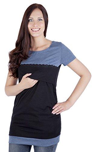 """Mija - 2 en 1 top élégant de maternité et de soins T-shirt """"Diana II"""" 7120A Noir / Bleu"""