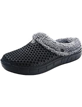 hibote Pantofole da donna/uomo, fodera in pelliccia sintetica calda Pantofola in felpa Giardino invernale Zoccoli...