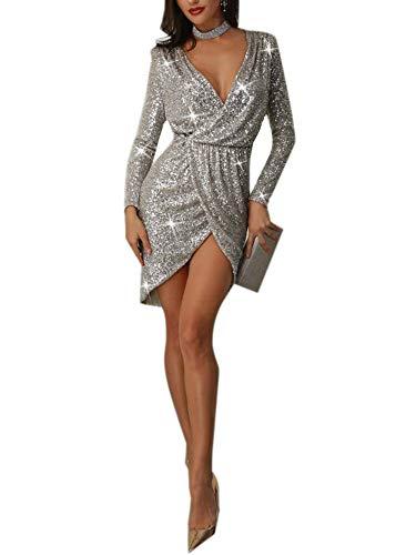 Sijux Womens tiefem V-Ausschnitt Langarm Pailletten Cocktail Midi Kleider Cocktail Party Kleid,Silver,M (Silver Womens Cocktail Kleider)