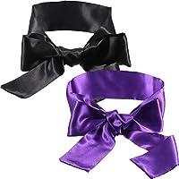 Hestya 2 Pack Sleeping Mask Satin Eye Mask (Black and Purple) Blindfold, 150 cm
