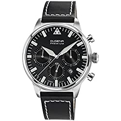 Dugena Herren-Armbanduhr COCKPIT Chrono Chronograph Quarz Leder 7000179