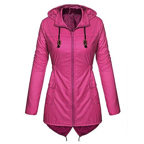 iHENGH Karnevalsaktion Damen Mantel bequem Solide Regenjacke Outdoor Jacken Wasserdicht mit Kapuze Regenmantel Winddicht Parka Coat