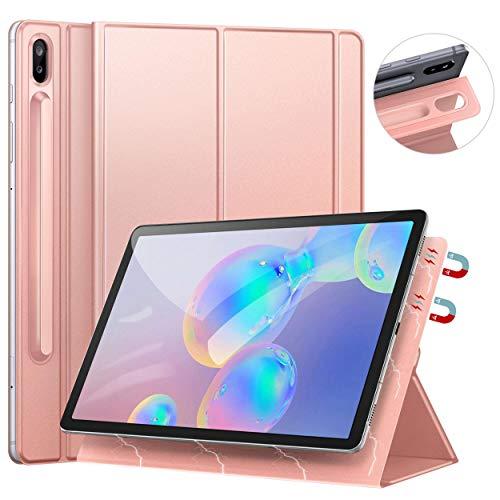 Ztotops Hülle für Samsung Galaxy Tab S6, Ultra dünn Smart Magnetische Abdeckung, Mit S Pen Halter und Auto Schlaf/Wach Funktion, für Samsung Galaxy Tab S6 10.5 Zoll 2019 (SM-T860/T865),Roségold