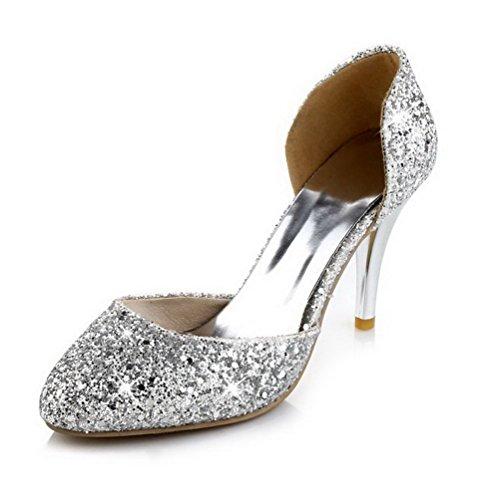 VogueZone009 Damen Spitz Zehe Hoher Absatz Weiches Material Rein Pumps Schuhe Silber