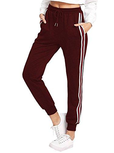 DIDK Damen Hosen Sporthose Casual Streifen Sweathose Elastischer Bund Jogginghose mit Taschen Weinrot M