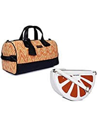 THE MAKER Combo Of Black And Brown Ikat And Synthetic Women Kilburn Duffle Bag With White And Orange Synthetic...