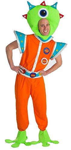 Marsmännchen Kostüm für Herren - XL Spaßkostüm - Lustige Marsmensch Alien Außerirdischer (Alien Kostüm Marsmensch)