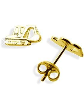 Einzel-Ohrstecker per Stück Schaufelbagger echt 14 Karat Gold 585 (Art 602072/811104)