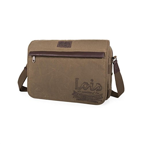 LOIS - CARTERON CANVAS LAPTOP BAG, Color Kaki Kaki