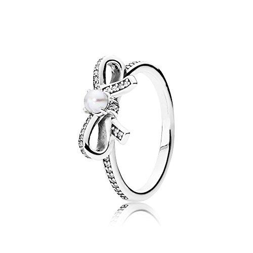 Pandora anello donna perla cuciti 925argento ossido di zirconio trasparente dimensioni lucido perla di acqua dolce–bianco–190971p, argento, 54 (17.2), colore: argento, cod. 190971p-54