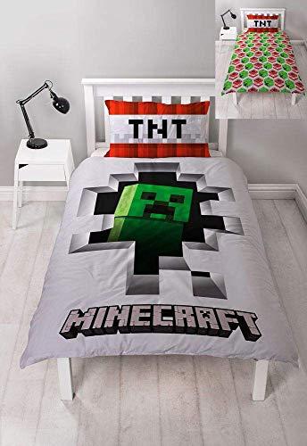 Character World Minecraft Dynamite Bettwäsche-Set für Einzelbett, offizielles Lizenzprodukt, wendbar, zweiseitiges Creeper-Design, mit passendem Kissenbezug, Polyester, Weiß/Grün/Rot