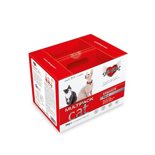 Disugual Multipack Mantenimento Exquisite Pollo 2 kg (4x500 gr) - Alimento completo in sacchetti, crocchette per gatti adulti