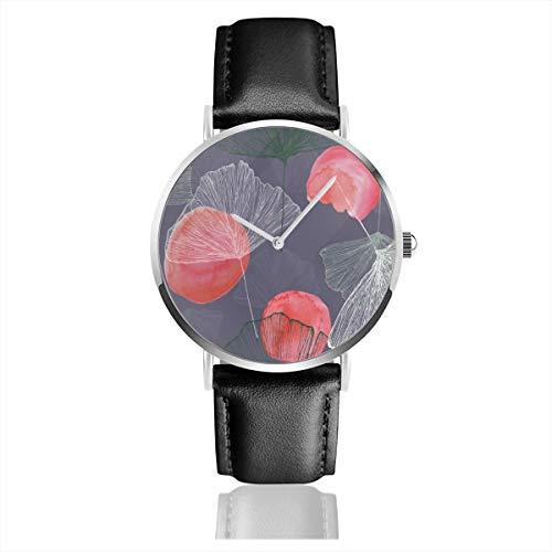 Armbanduhr Quarzuhr Ginkgo Casual Uhren für Männer Frauen Damen mit schwarzem Leder