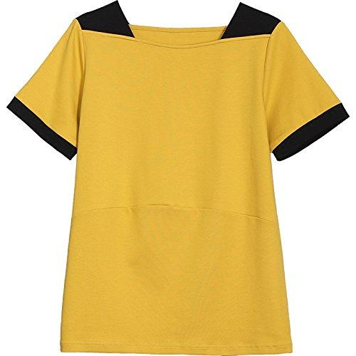MoMo T-shirt à manches courtes Summer Loose Thin Large Taille haute Top à coutures apparentes Col en coton,jaune