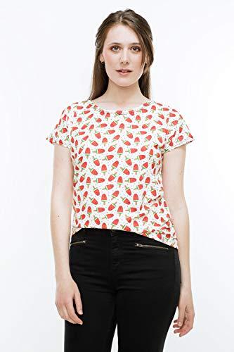 T-Shirt Meloneneis, weißes Shirt mit Wassermeloneneis am Stiel und kleinen schwarzen Pünktchen, angeschnittene Ärmel