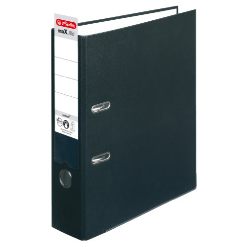 Herlitz 5480801 Ordner maX.file protect A4 (8 cm mit Einsteckrückenschild) schwarz -
