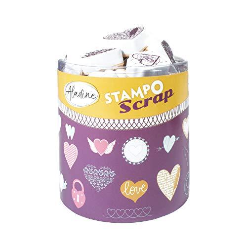 Aladine-03720-Stempel zu drucken-Stampo Scrap-Herzen (Stempel Herzen Set)