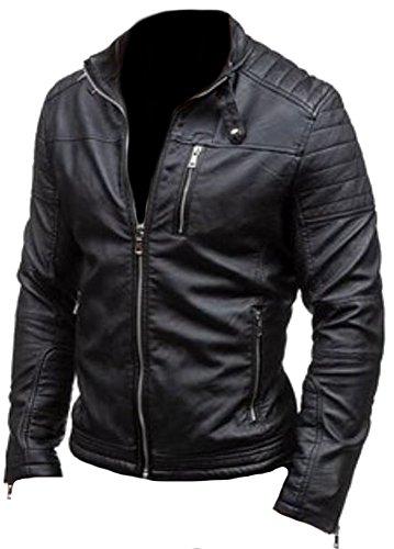 classyak Herren Fashion Rob Top Qualität echt Leder Jacke Gr. XXXX-Large, Cow Black (Leder-moto-biker-jacke)
