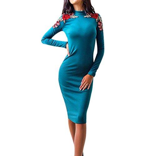 Longra Damen beiläufiges Floral Stickerei Bleistift Kleid Damen Langarm Maxi Lang Kleid für Damen Rollkragen Abendkleider Elegante Cocktailkleider Partykleider (Blue, - Für Blau Frauen Maxi-kleider Licht