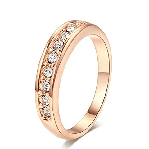 HKTC Rose Gold Plated Top Class Small Pcs Rhinestones Studded Eternity Band Wedding Ring Jewellery (P)
