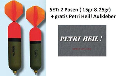 SET: 2 x Behr Raubfischpose mit Segel,( 1x 15gr, 1x 25gr)+ gratis Petri Heil Aufkleber