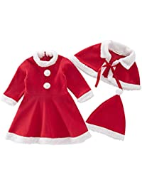 318205e14 Nyan Cat - Niñas Vestido de Navidad con Chal Gorro Elegante Fiesta Conjunto  Navideño de 3 Piezas Infantil Suave Chicas Traje de…