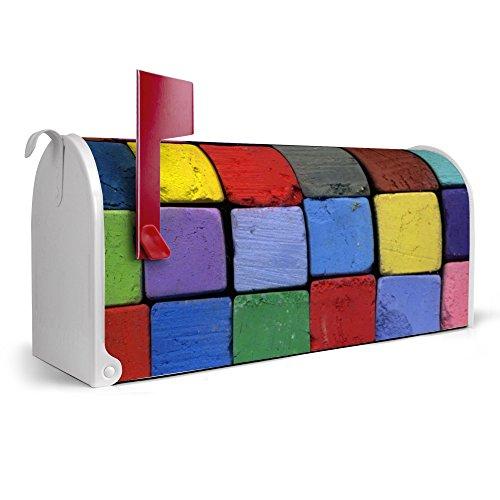 banjado-weier-Amerikanischer-Briefkasten-USA-Mailbox-17cm-x-22cm-x-51cm-mit-Motiv-Bunte-Kreide