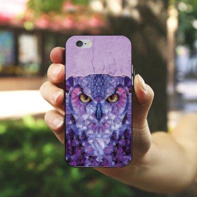 Apple iPhone X Silikon Hülle Case Schutzhülle Eule Owl Lila Silikon Case schwarz / weiß