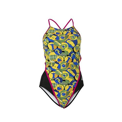 "MP Michael Phelps Damen Schwimmanzug/Badeanzug ""Carimbo"" mit tiefem, rundem Rückenausschnitt, damen, Carimbo Open Back, grün / gelb (Badeanzug Rio Back)"