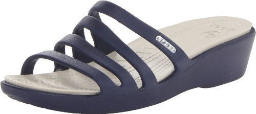 Crocs Rhonda Wedge Sandali con Plateau e Zeppa Donna, (Nautical Navy/Stucco), 39-40 EU (7 UK)