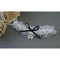 Giarrettiera di pizzo nozze matrimonio sposa biancheria intima regali de nozze addio al nubilato bianco nero Star Wars Darth Vader