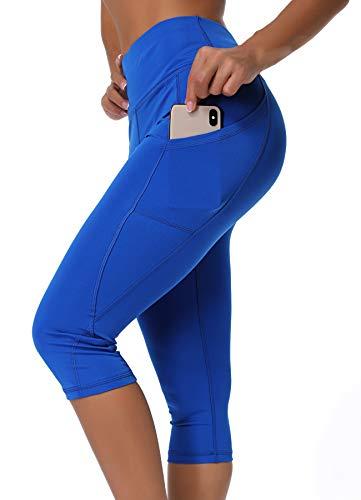 INSTINNCT Damen Doppeltaschen Sport Leggings 3/4 Yogahose Sporthose Laufhose Training Tights mit Handytasche Capris(normal) - Blau M