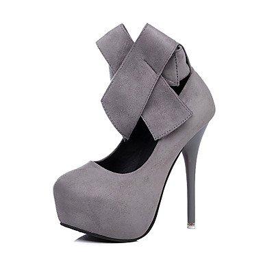 Sanmulyh Womens Chaussures De Printemps Leatherette Pump Fall Base Talons Talon Aiguille Round Toe Bowknot Pour Noce Et Amp; Sera Noir Gris Gris