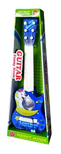CT Spielzeug batteriebetriebene 6 Metallsaiten Gitarre für Kinder mit 5 Demos und Plektrum (Dunkelblau)