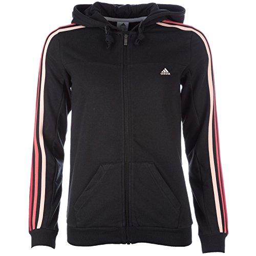 Adidas Essentials Damen Trainingsjacke, ClimaLite, Baumwolle, mit Reißverschluss, Kapuze, 3 Streifen X-small schwarz - Black - Haze Coral