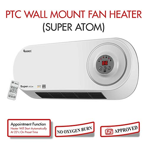 Warmex Home Appliances 1000/2000 Watts Wall Mount PTC Heater Atom with Remote (Large, White and Grey)