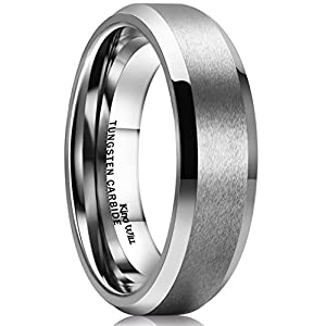 King Will 6MM Wedding Band For Men Tungsten Carbide Engagement Ring Comfort Fit Beveled Edges Z