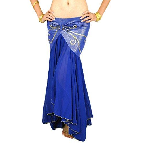 YuanDian Damen Chiffon Fischschwanz Bauchtanz Langer Rock Unregelmäßiger Eleganter Beruflicher Arabischer Orientalischer Tanz Stammes Fusion Röcke Kostüm Saphir - Bauchtanz Tribal Fusion Kostüm