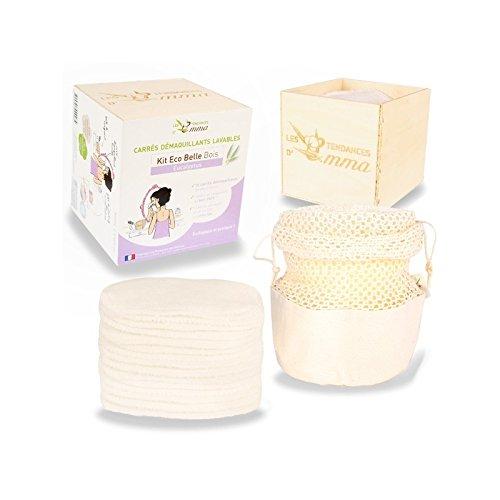 Les Tendances D Emma Kit Eco Belle bois: 15 carrés démaquillants lavables Coton Bio Biface + filet + boite en bois