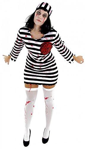 Foxxeo Zombie Sträfling Kostüm für Damen - Größe XS-M - Sexy Gefangene Halloween Kleid Horror Party Fasching Karneval Größe S