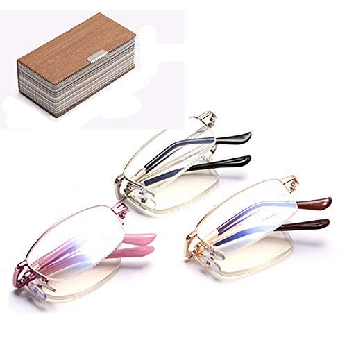 Occhiali da lettura pieghevoli in confezione da 3 occhiali con montatura in metallo che trasportano occhiali per anziani Occhiali da lettura per occhiali mini presbiti,2.0