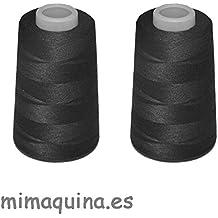 2 conos de hilo negros de poliester, especiales para máquinas de coser y remalladoras